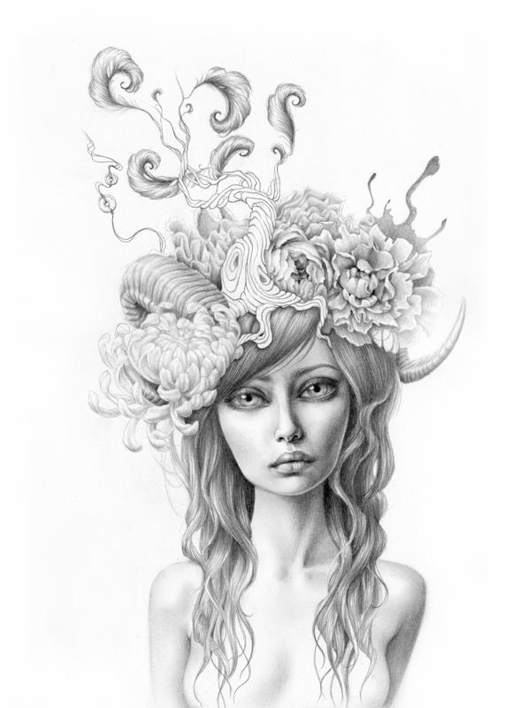 Drawn portrait floral Flowers nature trees  girl