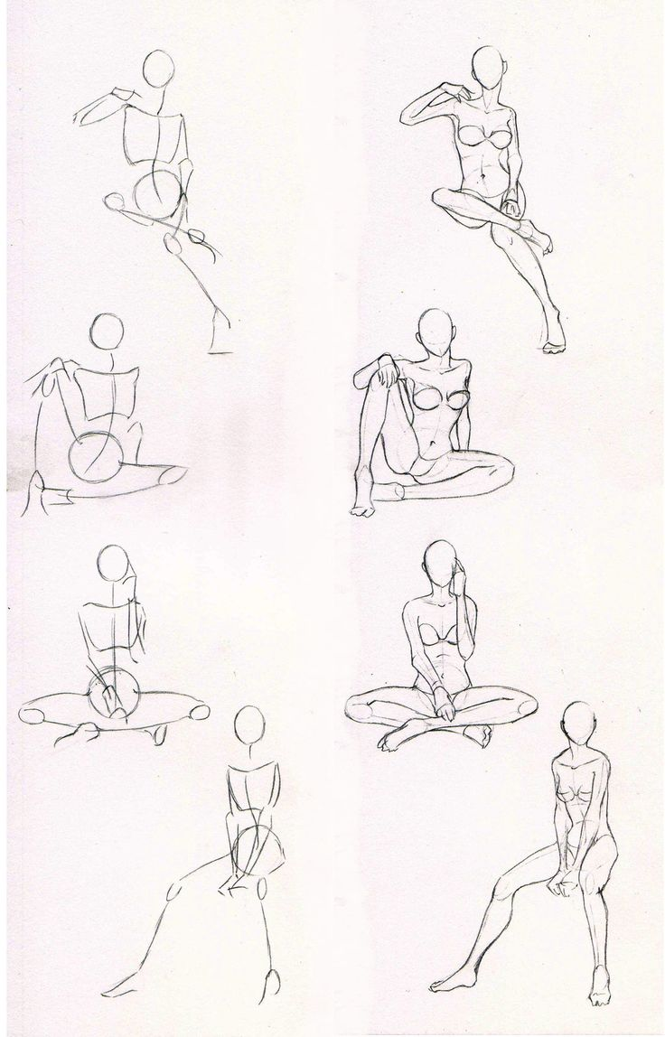 Drawn figurine practice Poses by Sketches practice Azizla