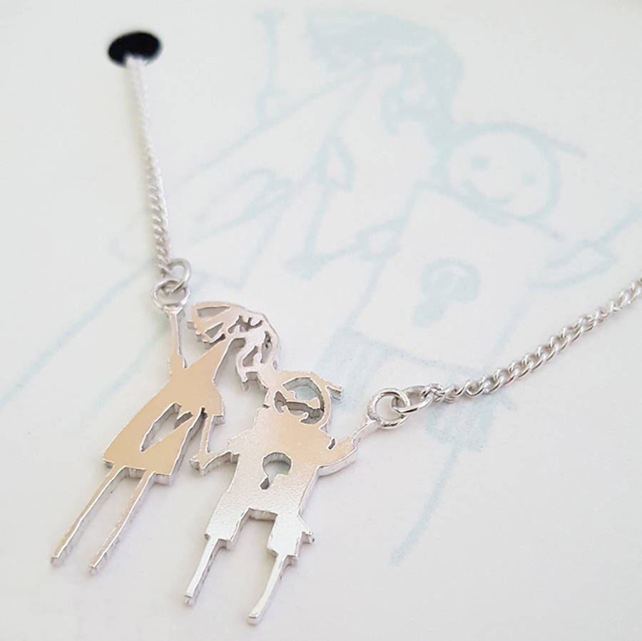 Drawn necklace Personalised Necklace made Drawing portrait