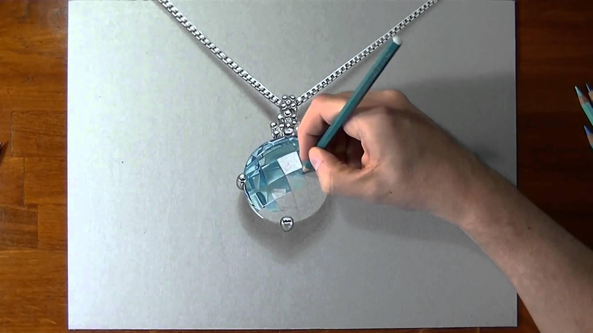 Drawn necklace Drawing ART ART aquamarine aquamarine