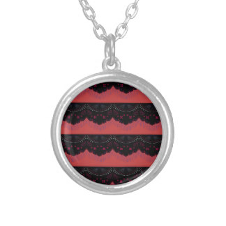 Drawn necklace black and red SILVER & RED PLATED Zazzle