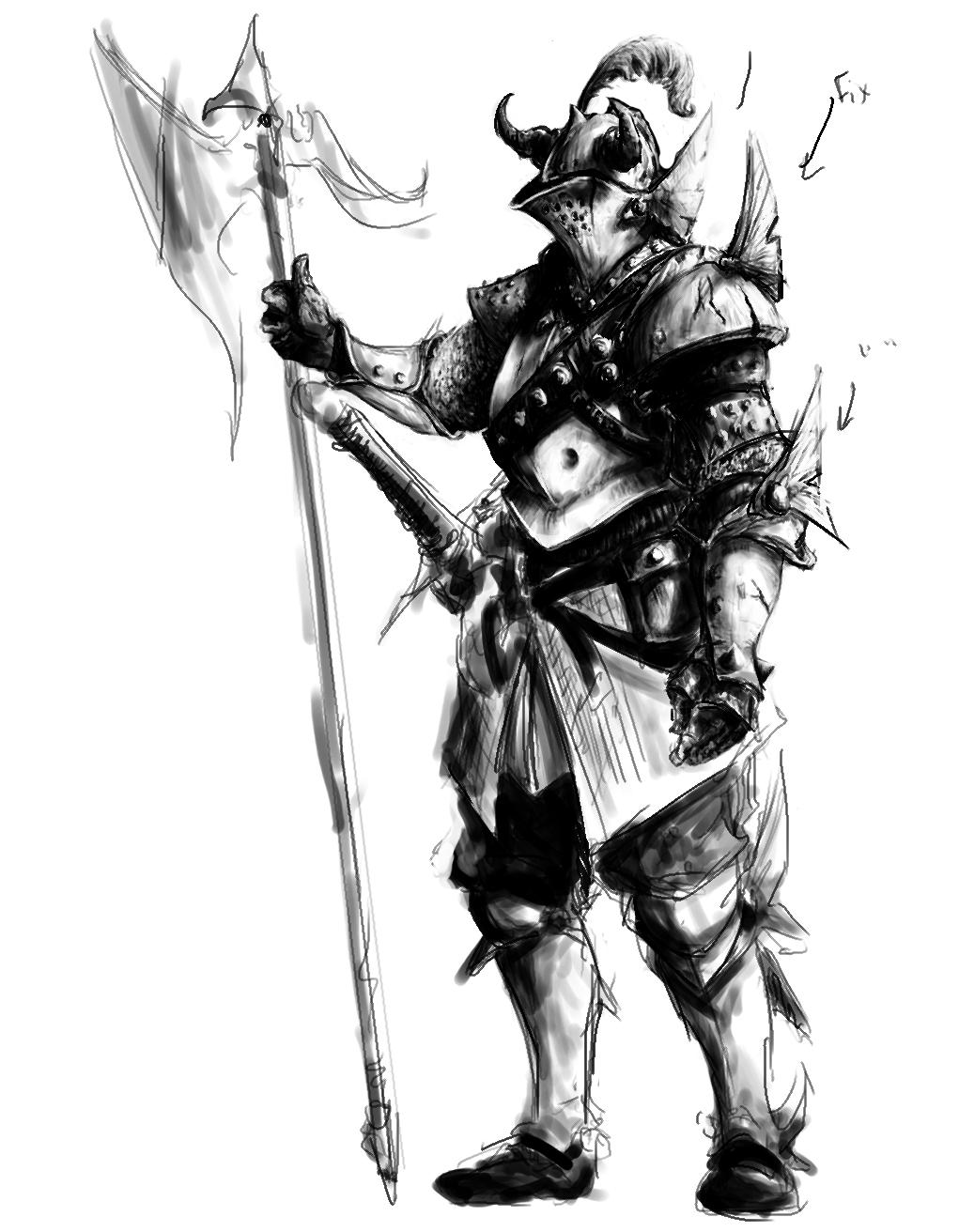 Drawn armor white knight #3