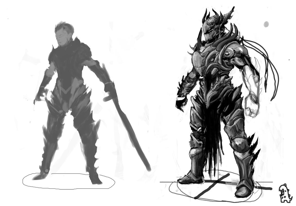 Drawn armor white knight #10