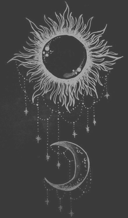 Drawn star night drawing Draw Black  Moon vintage