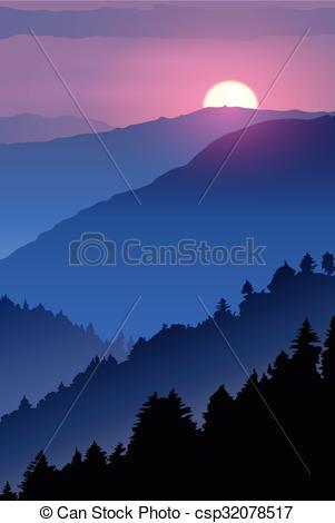 Drawn sunset mountain Wildlife of sunset drawn wildlife