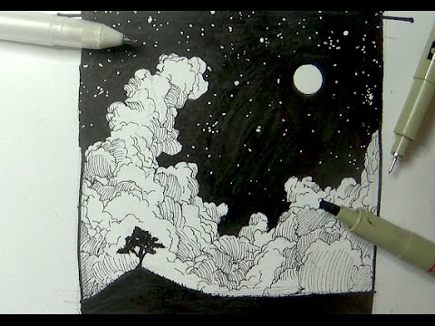Drawn night sky Sky night moon a landscape