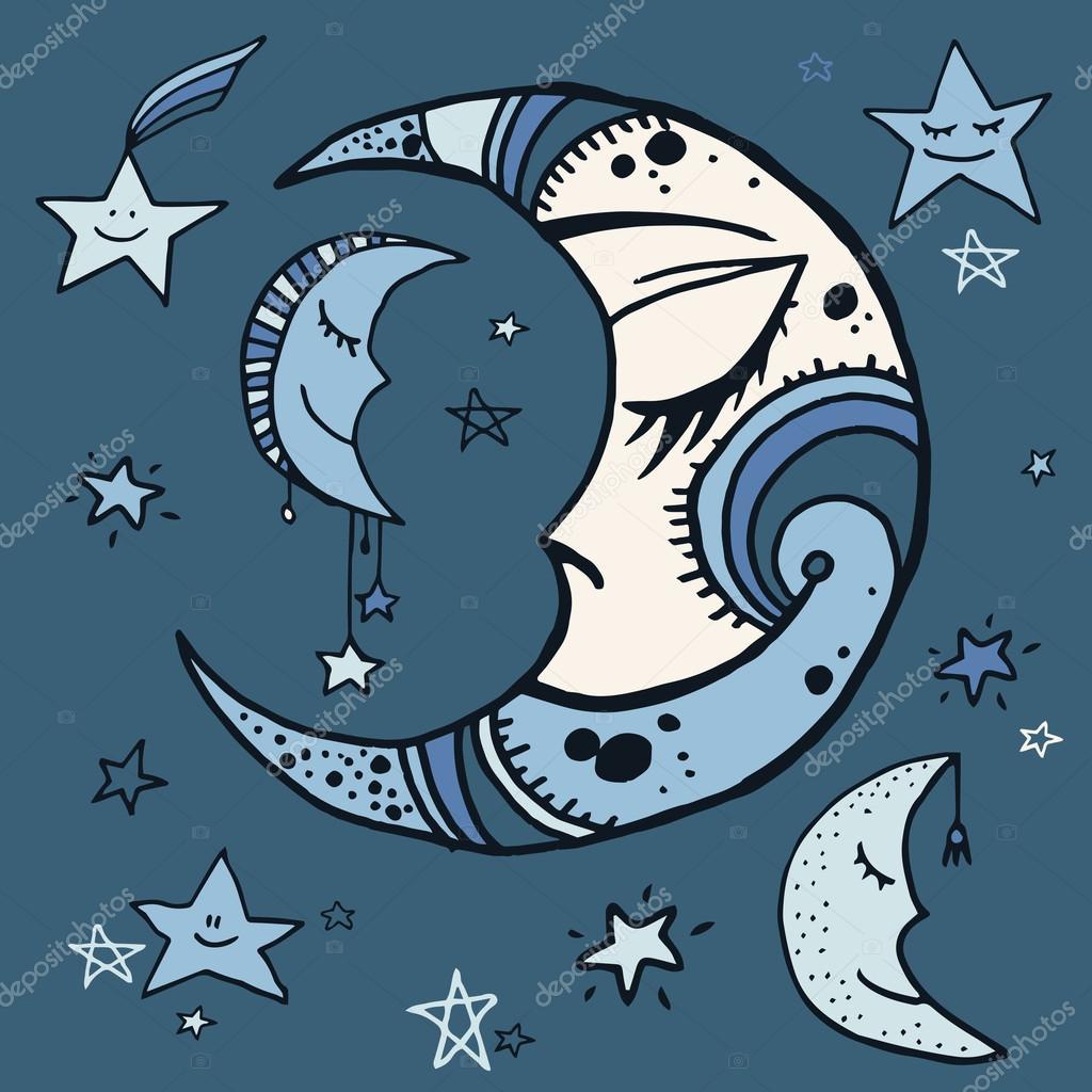 Drawn night sky cartoon Set sky of sky #101471234