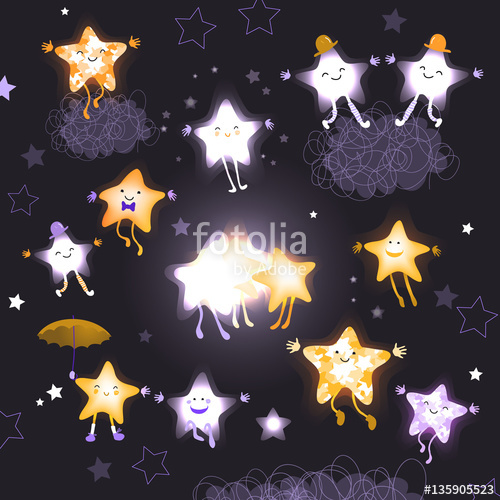 Drawn night sky cute Cartoon characters the of of