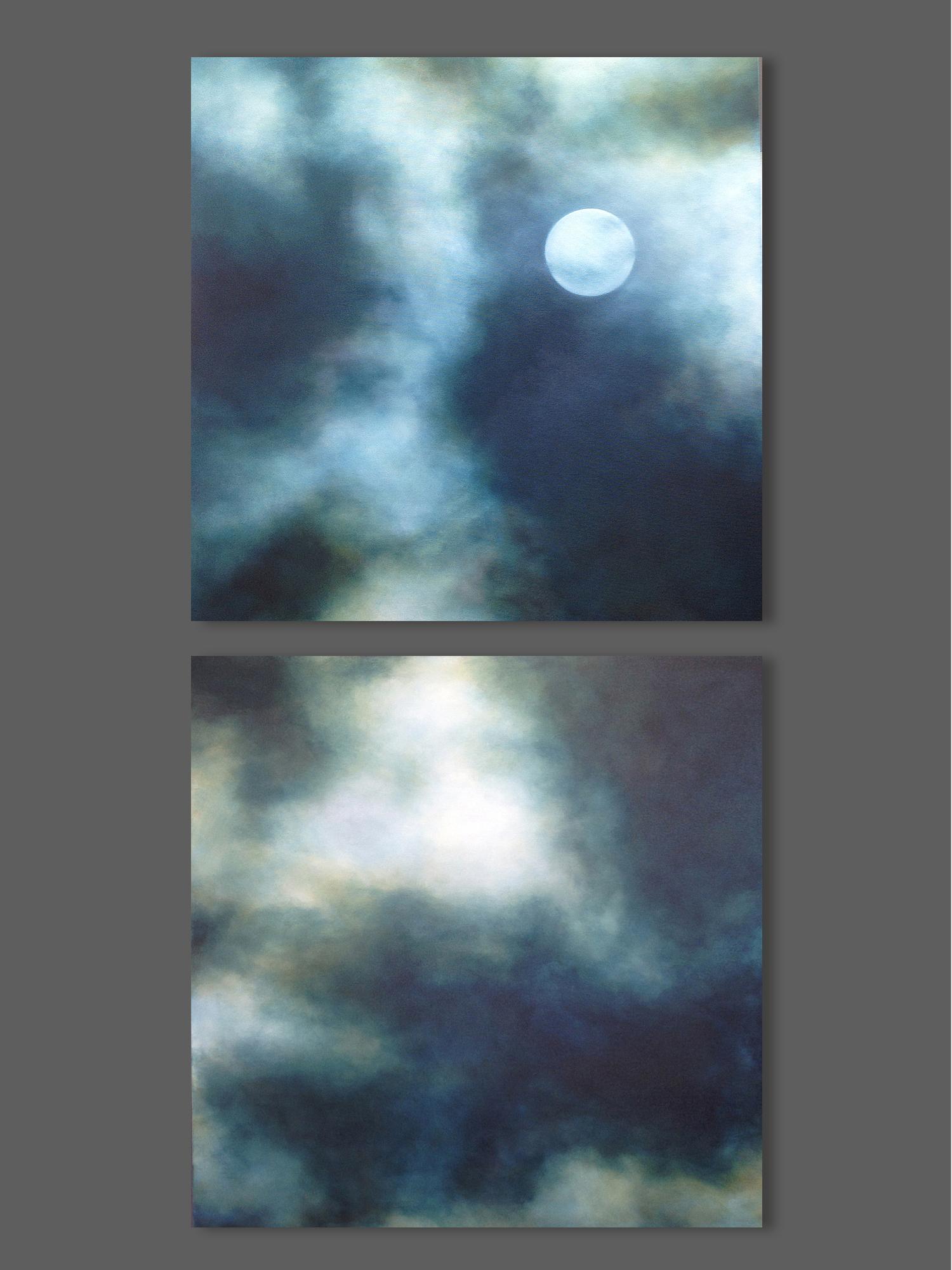 Drawn night sky moon painting Painting large sky sky Moon