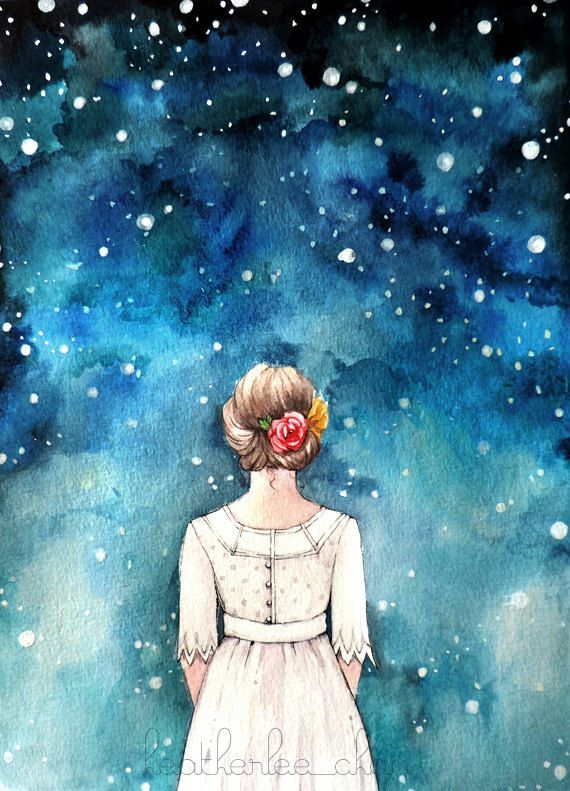 Drawn stare the sky drawing Girl and ideas painting on