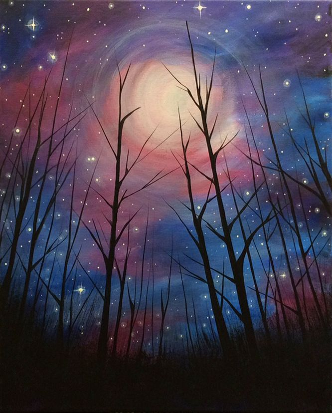Drawn night sky moon painting Painting Space on and sky