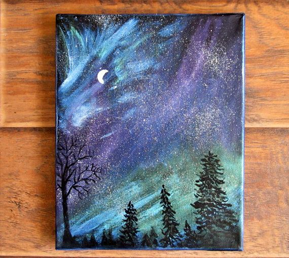 Drawn night sky moon painting Tree blue landscape Painting canvas