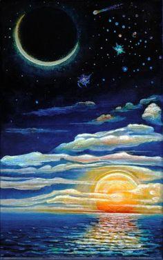 Drawn night sky moon painting