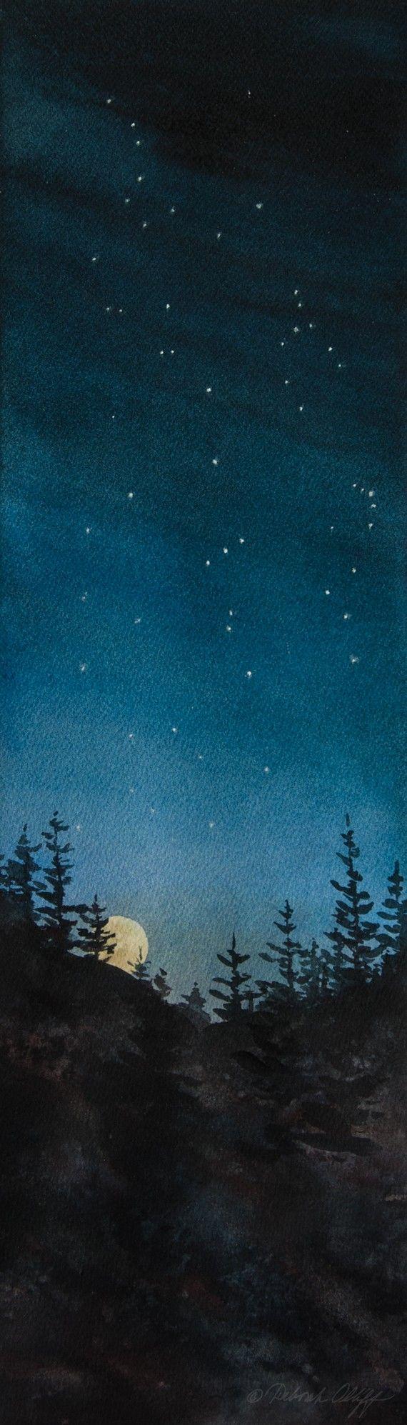 Drawn night sky moon painting Moon 25+ Silhouette Night Blue