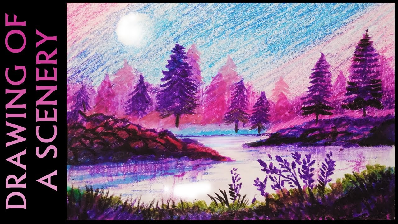 Drawn night sky oil pastel Oil YouTube with sky a