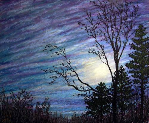 Drawn night sky oil pastel Night Pastel Oil Sky 2009
