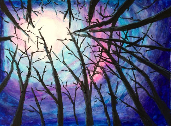 Drawn night sky oil pastel By by woods in yanghaiying
