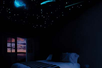 Drawn night sky painted ceiling Thing in the bedroom Night