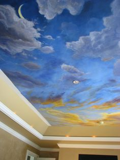 Drawn night sky painted ceiling Ceiling Home Starry night bedroom