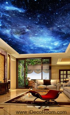 Drawn night sky painted ceiling Mansions some Wall Kids In