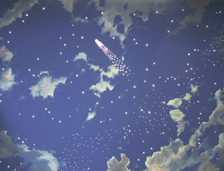 Drawn night sky painted ceiling Mural in  Room the