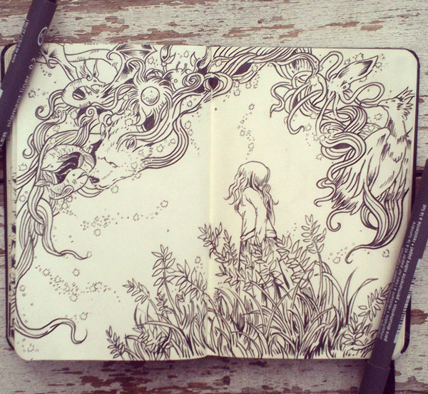 Drawn night sky pen and ink Sky kun on Picolo 39