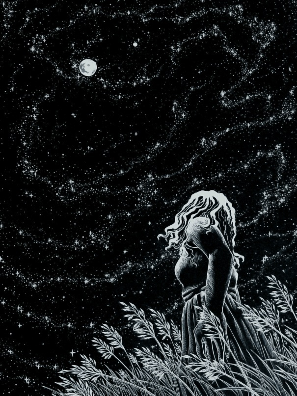 Drawn night sky pen and ink Black White ink is Technical