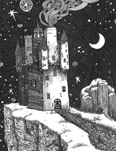 Drawn night sky pen and ink Pen and Various illustration