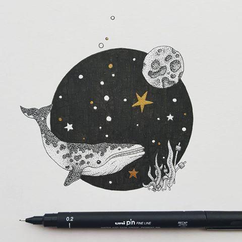 Drawn night sky pen and ink Metallic so I I some