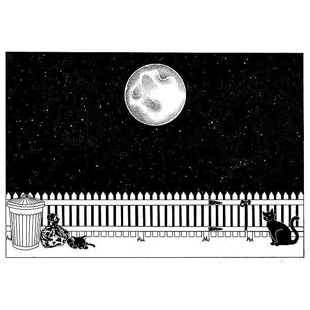 Drawn night sky pen and ink Night #drawing #painti… #art Cats