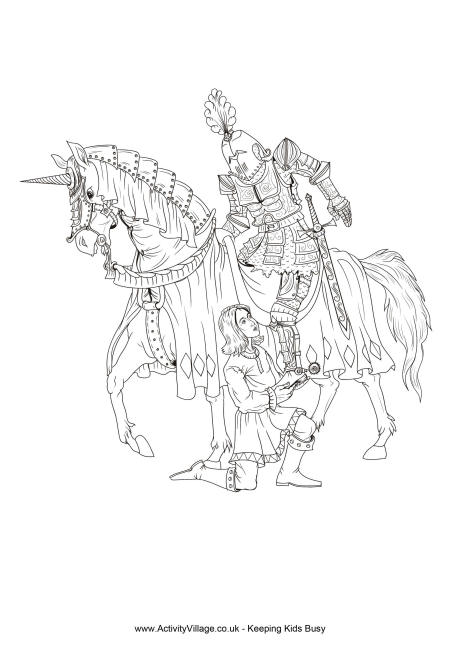 Drawn night squire And Squire Page Colouring Knight