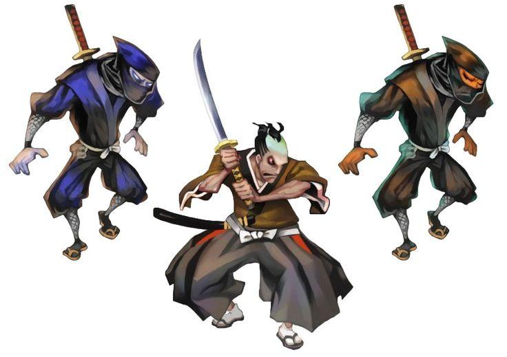 Drawn ninja demon Samurai Blade Demon Art Muramasa: