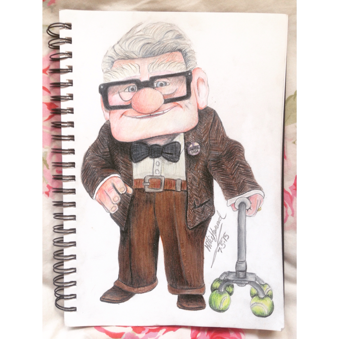 Drawn notebook animation 'Up' movie Mr Faber Hand
