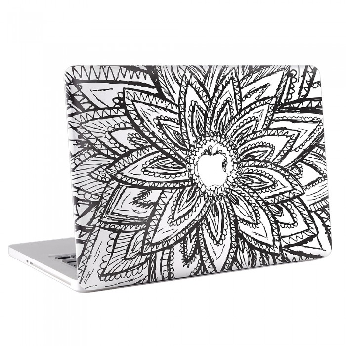 Drawn notebook apple laptop Decal Black Flower Black Decal