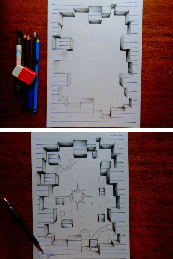 Drawn notebook art From Year 25+ 3D Old