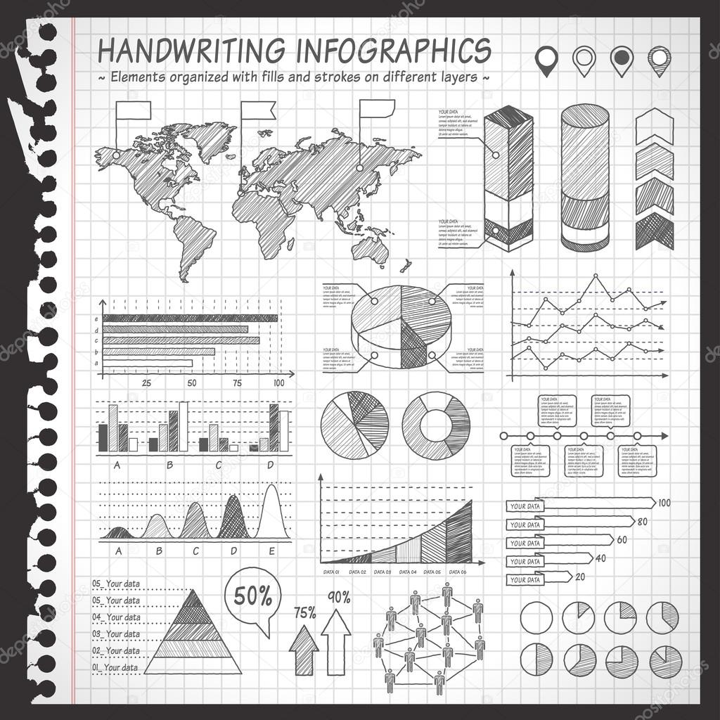 Drawn notebook Set and with Notebook Effect
