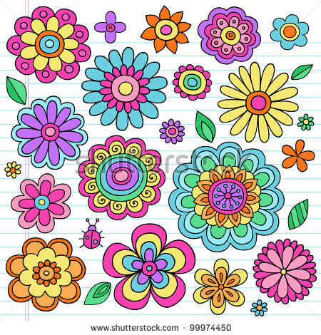 Drawn notebook clip art Groovy Flowers stock  Groovy