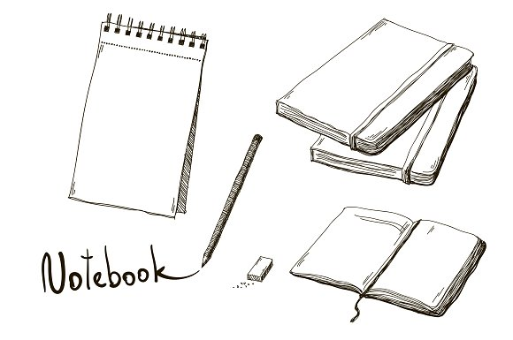 Drawn notebook hand drawn Market drawn hand notebooks of