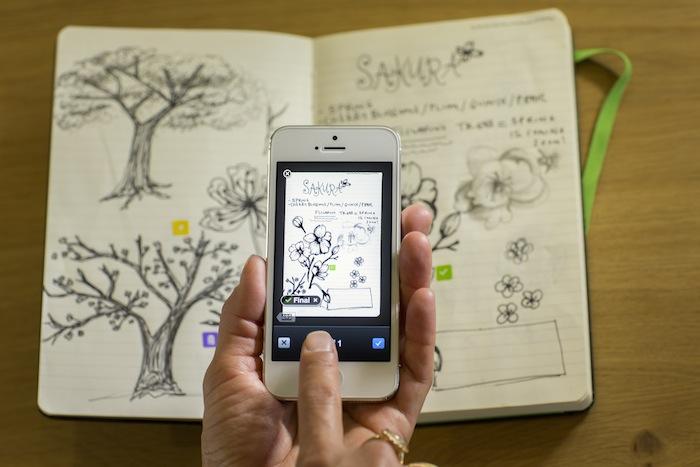 Drawn notebook high tech Moleskine Evernote to PageCamera Smart