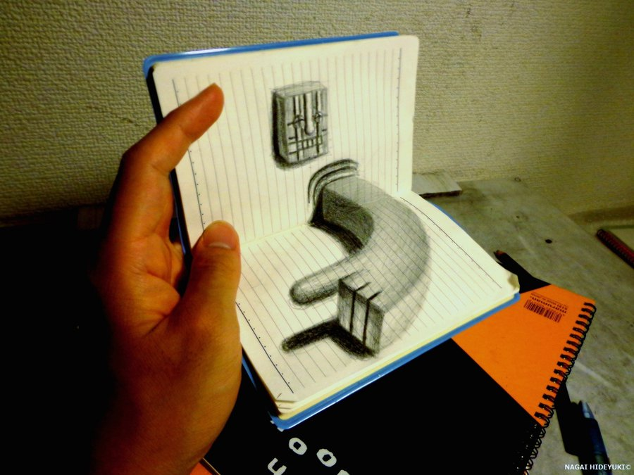 Drawn notebook notebook NAGAIHIDEYUKI 3D by notebook drawing