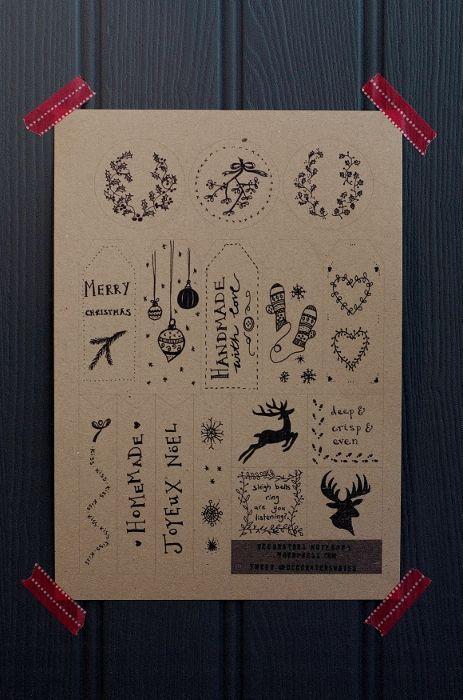 Drawn notebook printable Notebook Targhetta gift  Christmas