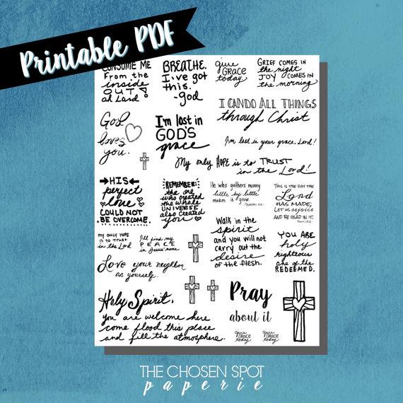 Drawn notebook printable Bible stickers journaling bible drawn