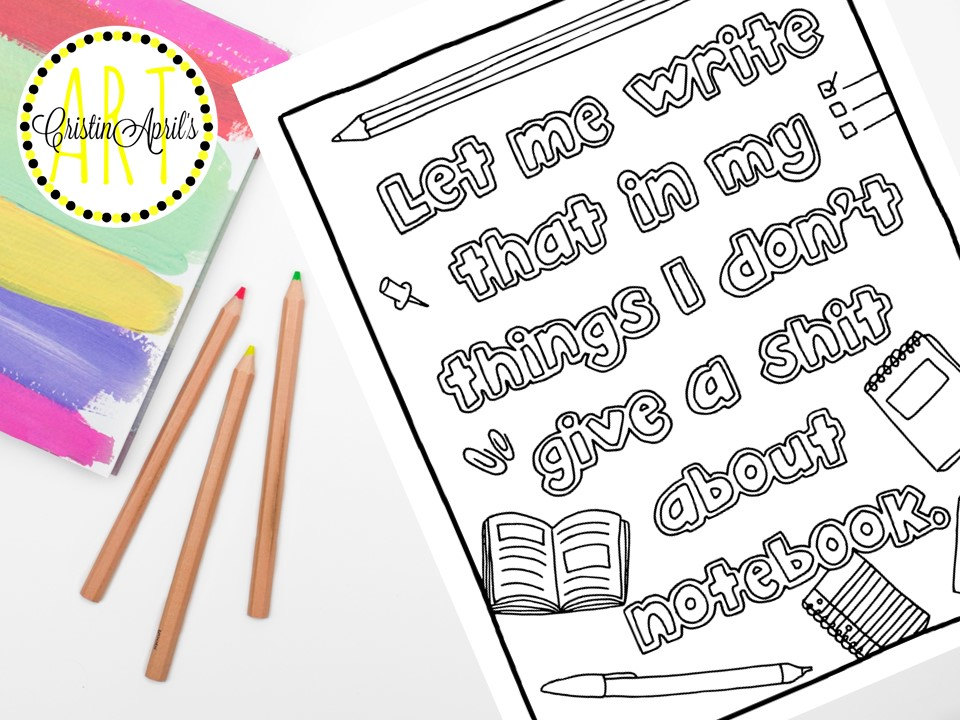 Drawn notebook printable Drawn Page Coloring Instant Adult