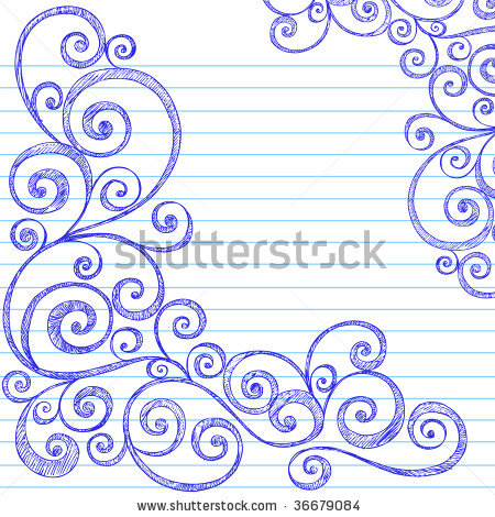 Drawn notebook simple Lined Drawn Doodles Swirly on