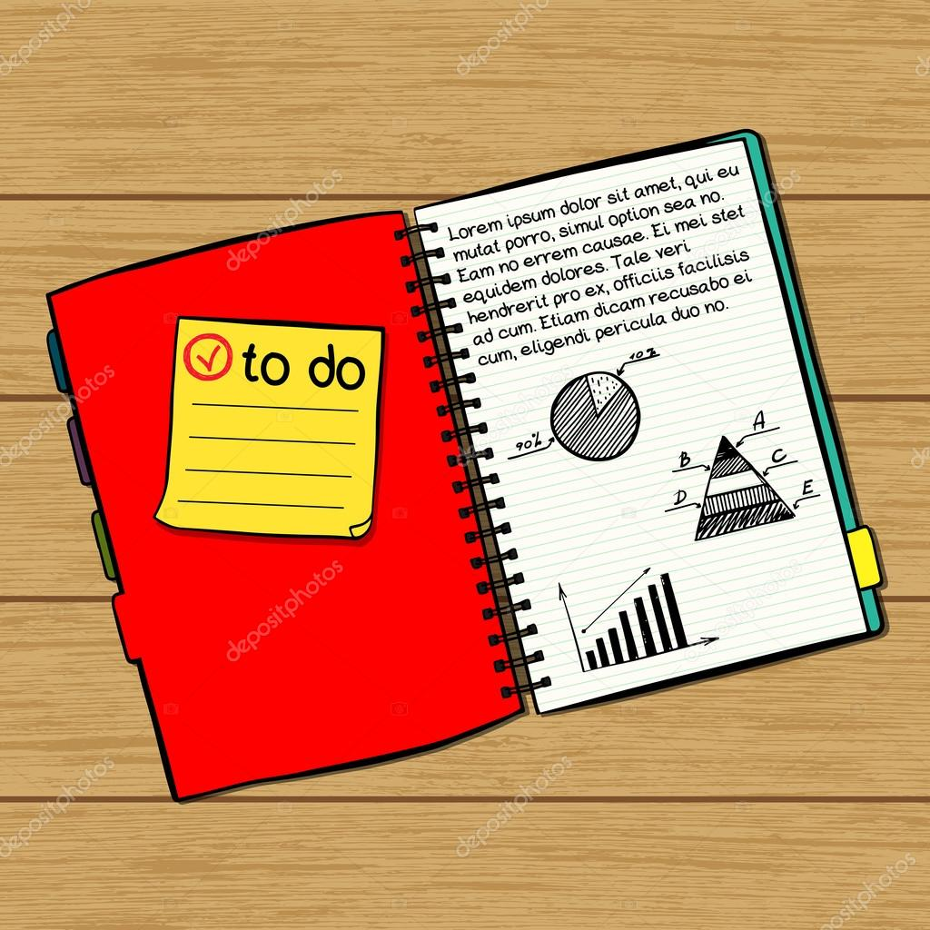 Drawn notebook vector Note hand on notebook with
