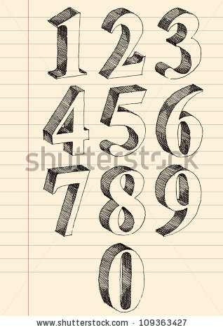 Drawn number Drawing Hand ink numbers Goldenarts