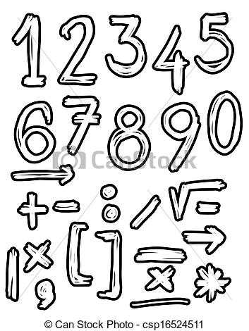 Drawn number heart Doodles numbers Hand drawn Clipart