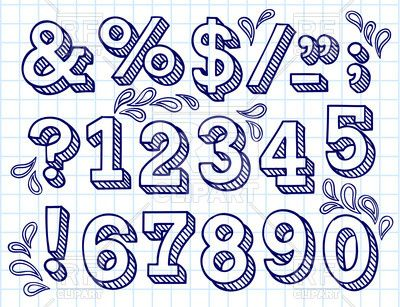 Drawn number block Royalty on on numbers Number