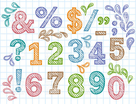 Drawn number colorful Symbols graphic with image Vector