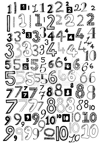 Drawn number doodle Jpg on numbers stock doodle